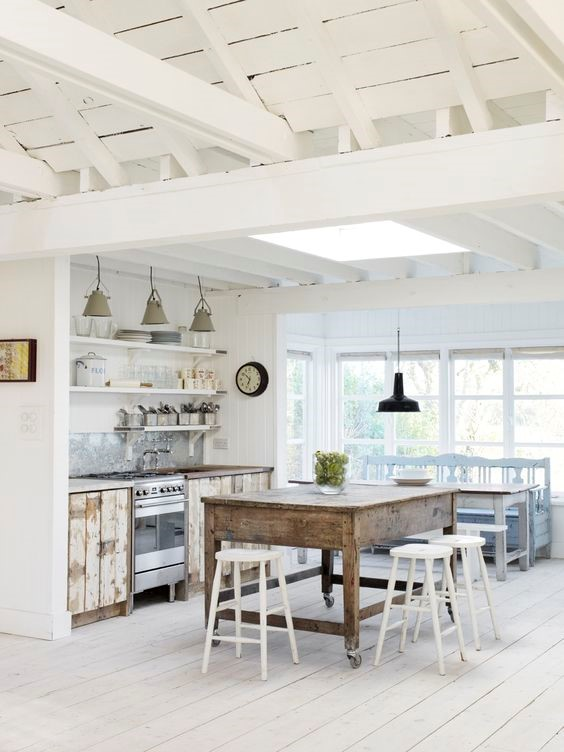 Rustic tables will give your kitchen instant character