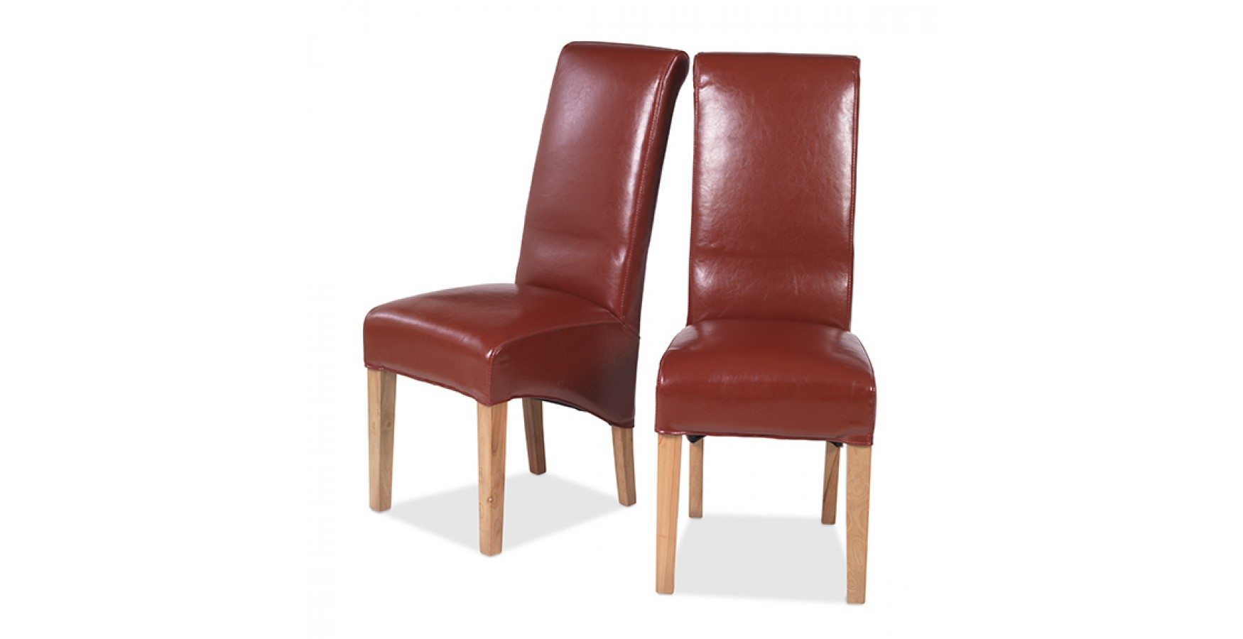 Cuba Oak Bonded Leather Dining Chairs Red - Pair ...