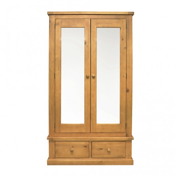 Chunky Pine Double Wardrobe with Mirrors