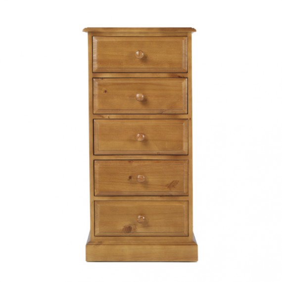 Country Pine 5 Drawer Tall Chest of Drawers