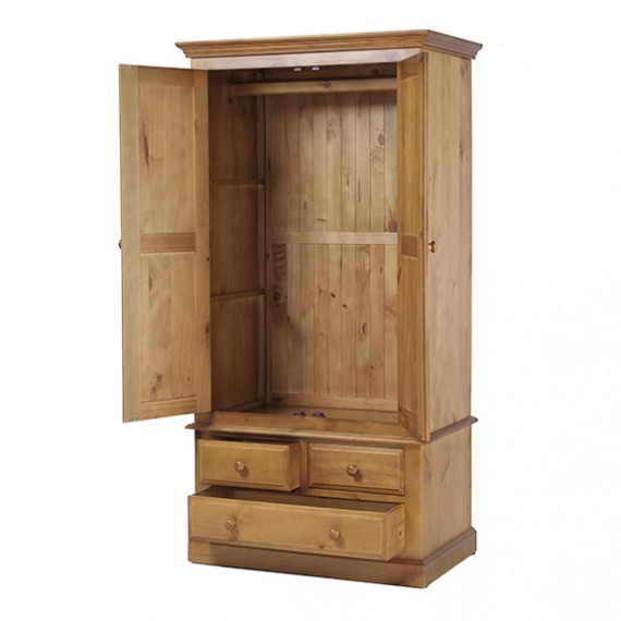 Country Pine Gents Double Wardrobe