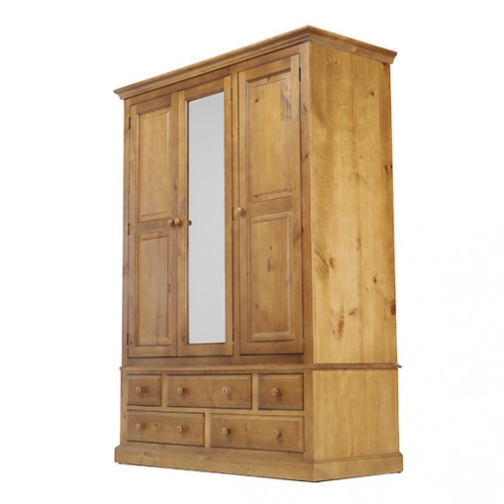 Country Pine Triple Wardrobe with Drawers