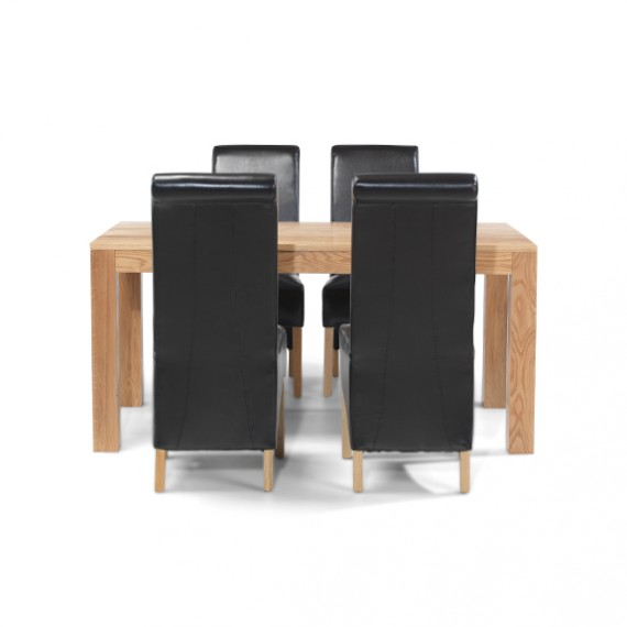 Cuba Oak 160 cm Dining Table and 4 Chairs