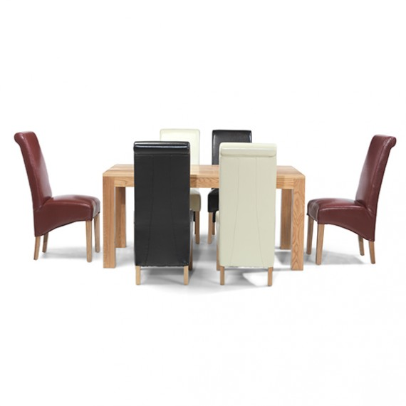 Cuba Oak 160 cm Dining Table and 6 Chairs