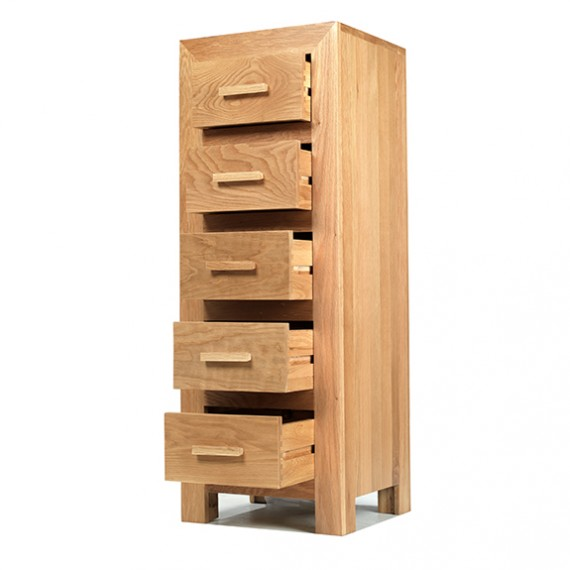 Cuba Oak 5 Drawer Tall Chest of Drawers