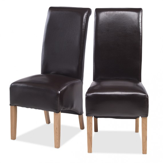 Cuba Oak Bonded Leather Dining Chairs Brown - Pair