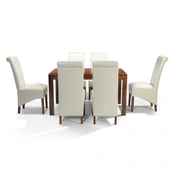 Cuba Sheesham 140 cm Dining Table and 6 Chairs