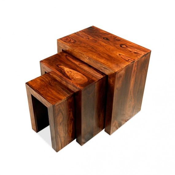 Cuba Sheesham Nest of 3 Tables