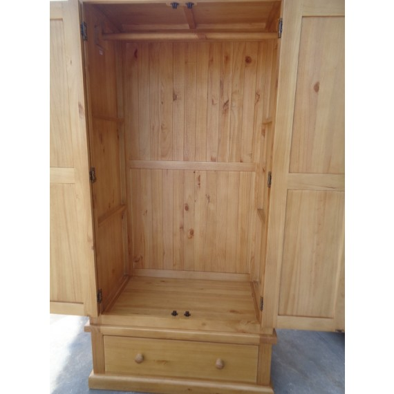 Chunky Pine Gents Double Wardrobe