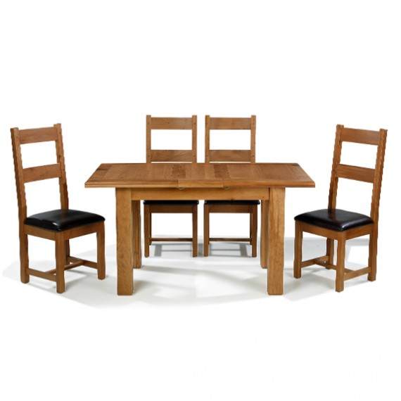 Emsworth Oak 132-198 cm Extending Dining Table and 4 Chairs