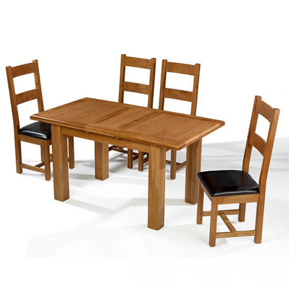 Emsworth Oak 120-150 cm Extending Dining Table and 4 Chairs