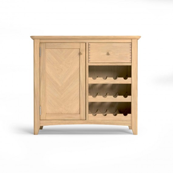 Parquet Oak Wine Rack With Drawer