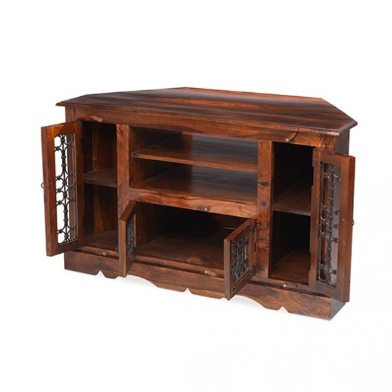 Jali Sheesham Corner TV Cabinet