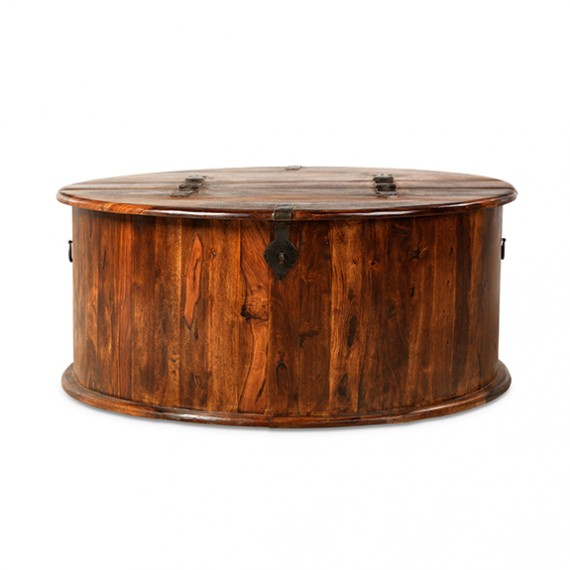 Jali Sheesham Round Coffee Trunk Box