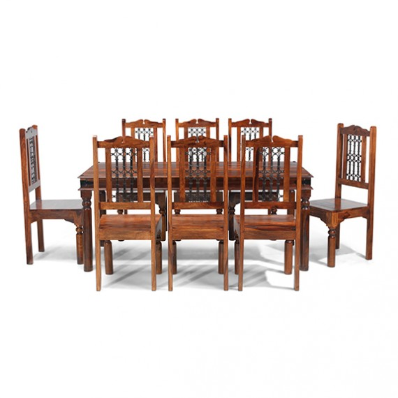 Jali Sheesham 180 cm Thakat Dining Table and 8 Chairs