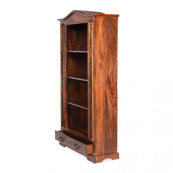 Jali Sheesham Tall Bookcase with Drawer