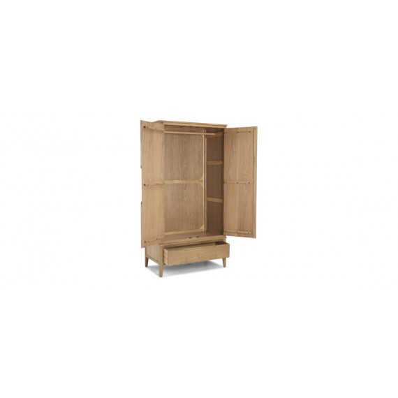 Harkus Oak Double Wardrobe With Drawer