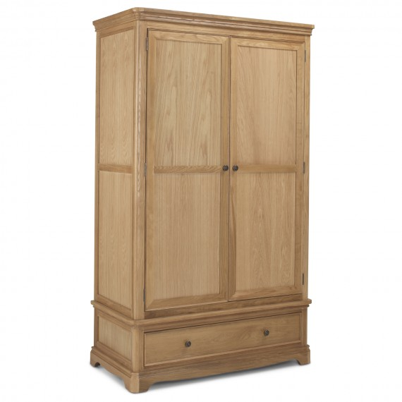 Loraine Natural Oak Bedroom Double Wardrobe With Drawer