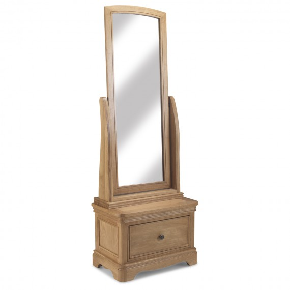 Loraine Natural Oak Bedroom Sleigh Cheval Mirror With Drawer