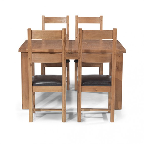 Rustic Oak 132-198 cm Extending Dining Table and 4 Chairs