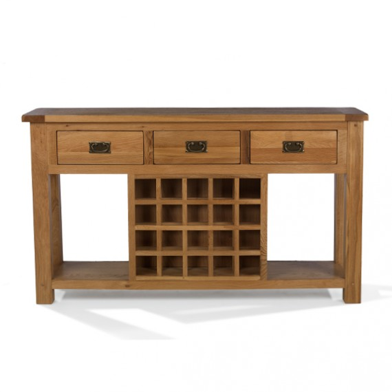 Rustic Oak Wine Rack Console Table