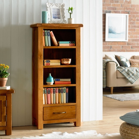Emsworth Oak Petite Bookcase with Drawer