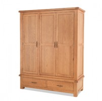 Kingham Oak Triple Wardrobe with Drawers