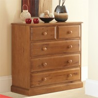 Country Pine 2 Over 3 Drawer Chest of Drawers