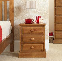 Country Pine 3 Drawer Bedside Cabinet