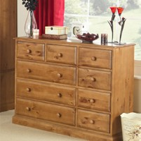 Country Pine 9 Drawer Chest of Drawers