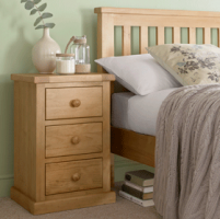 Chunky Pine 3 Drawer Bedside Cabinet