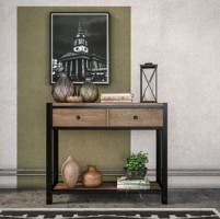 Riverside Industrial Oak Console Table With Drawers