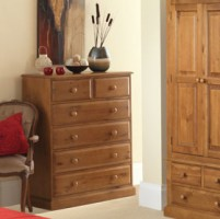 Country Pine 6 Drawer Chest of Drawers