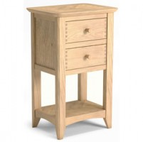 Parquet Oak Lamp Table With Two Drawers
