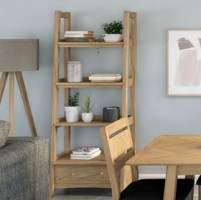 Parquet Oak Ladder Bookcase