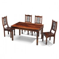 Jali Sheesham 140 cm Thakat Dining Table and 4 Chairs