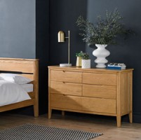 Harkus Oak 6 Drawer Wide  Chest