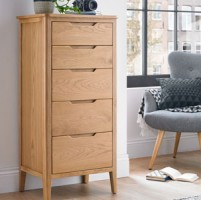 Harkus Oak 5 Drawer Tall Chest