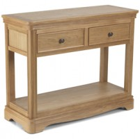 Loraine Natural Oak Living & Dining Console Table 2 Drawers
