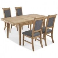 Loraine Natural Oak Living & Dining Ext Dining Table with 4 Chairs
