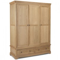 Loraine Natural Oak Bedroom Triple Wardrobe With Drawer