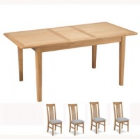 Cadley Oak Extended Dining table and 4 Chairs
