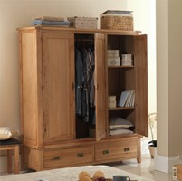 Rustic Oak Triple Wardrobe with Drawers