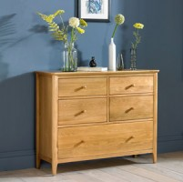Danbury Oak  5 Drawer Wide Chest Of Drawer