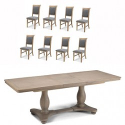 Loraine Oak Living & Dining Pedestal Ext Dining Table 180/230cm and 8 Chairs