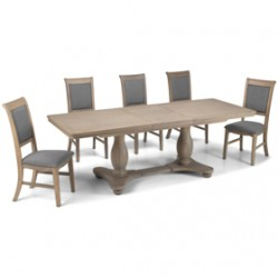 Loraine Oak Living & Dining Pedestal Ext Dining Table 180/230cm and 6 Chairs