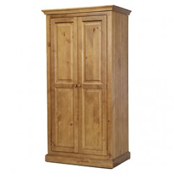 Country Pine Full Hanging Double Wardrobe