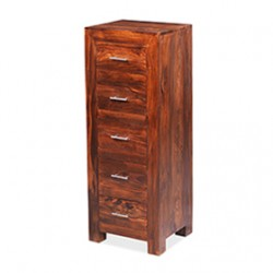 Cuba Sheesham 5 Drawer Tall Chest of Drawers