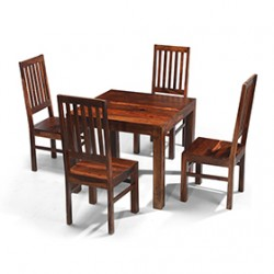 Cuba Sheesham 90 cm Dining Table and 4 Chairs