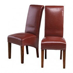 Cuba Dark Leg Bonded Leather Dining Chairs Red - Pair